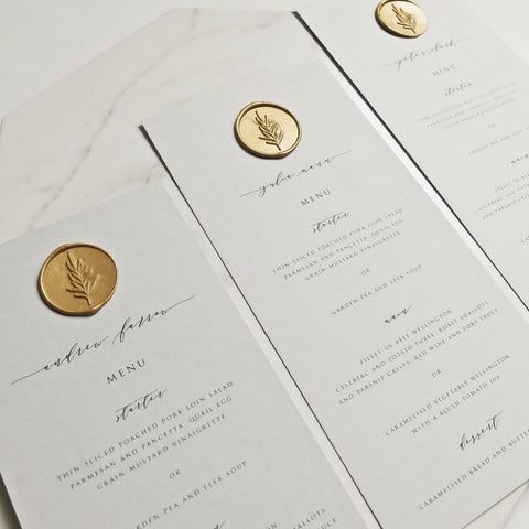 Grey Menu Place Setting with Wax Seal