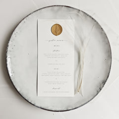 Ivory Menu Place Setting with Wax Seal