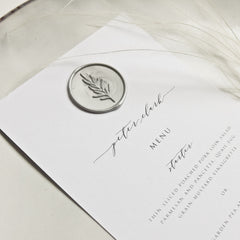 White Menu Place Setting with Wax Seal
