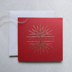 Crimson and Gold Foil Ornament Christmas Cards (card pack of 8)