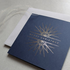 Navy and Gold Foil Ornament Christmas Cards (card pack of 8)