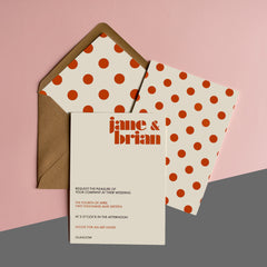 Playful polka-dot collection in Burnt Orange