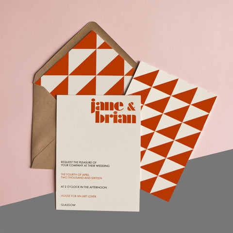 Playful triangle collection in Burnt Orange
