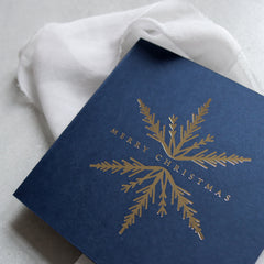 Navy and Gold Foil Snowflake Christmas Cards (card pack of 8)
