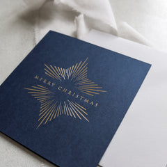 Navy and Gold Foil Star Christmas Cards (card pack of 8)