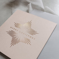 Neutral and Gold Foil Star Christmas Cards (card pack of 8)