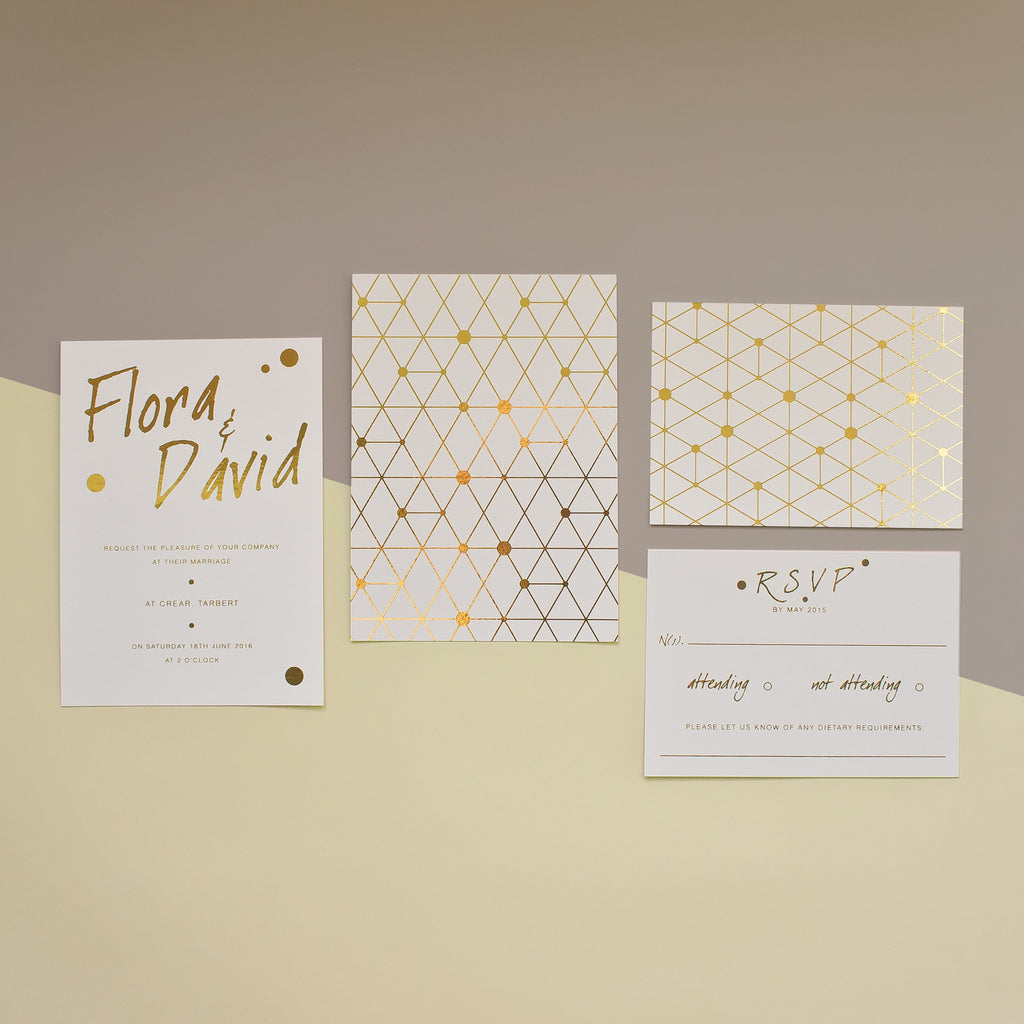 Urban Handwriting Gold Foil Wedding Stationery