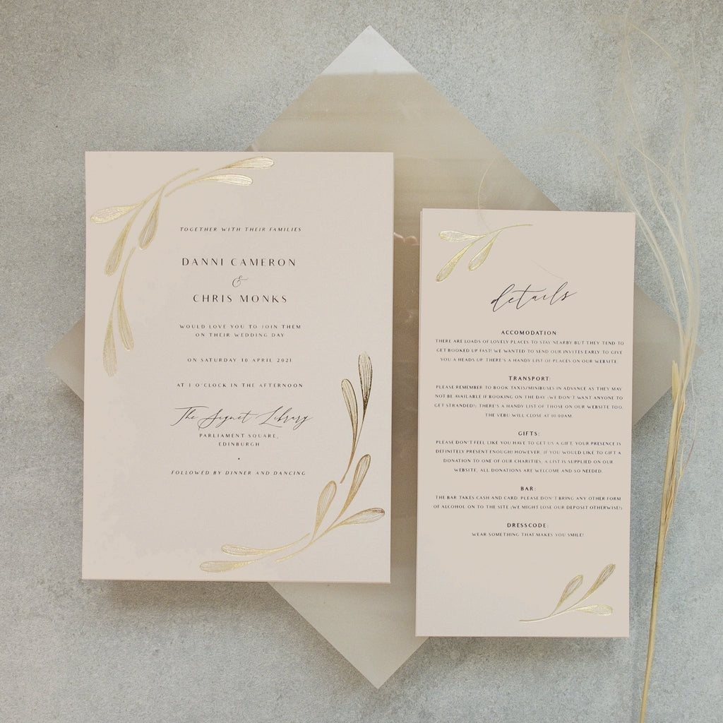 Winged Foil Wedding Invitation Suite