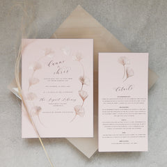 Ginkgo Foil Wedding Invitation Suite