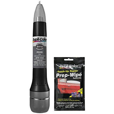 Dupli-Color AFM0360 Dark Shadow Gray Exact-Match Scratch Fix All-in-1 Touch-Up Paint for Ford Vehicles (CX) Bundle with Prep Wipe Towelette (2 Items)
