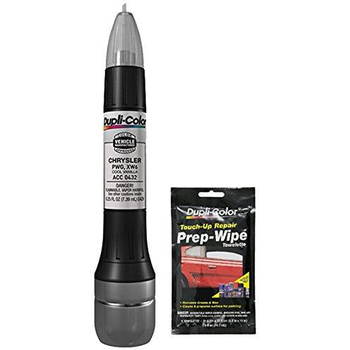 Dupli-Color ACC0432 Cool Vanilla Exact-Match Scratch Fix All-in-1 Touch-Up Paint for Chrysler Vehicles (PWG,XWG) Bundle with Prep Wipe Towelette (2 Items)