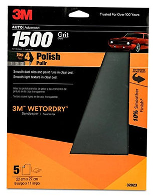 3M 1500 Grit Imperial Wetordry Sandpaper Sheet, 9in x 11 in, Pack of 5