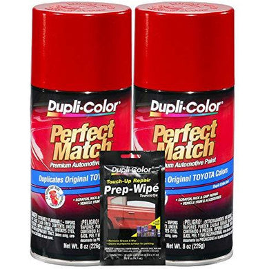 Dupli-Color Barcelona Red (Metallic) Exact-Match Automotive Paint for Toyota Vehicles - 8 oz, Bundles Prep Wipe (3 Items)