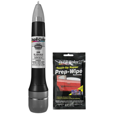 Dupli-Color AGM0434 Olympic White Exact-Match Scratch Fix All-in-1 Touch-Up Paint for GM Vehicles (50, WA 8624) Bundle with Prep Wipe Towelette (2 Items)