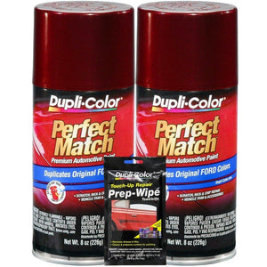 Dupli-Color Dark Toreador Red Exact-Match Automotive Paint for Ford Vehicles - 8 oz, Bundles with Prep Wipe (3 Items)