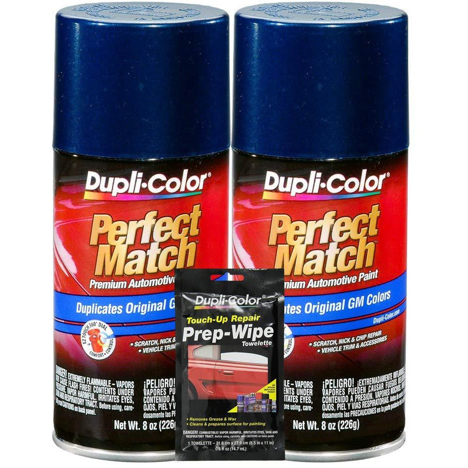 Dupli-Color Indigo Blue Metallic Exact-Match Automotive Paint for GM Vehicles - 8 oz, Bundles Prep Wipe (3 Items)
