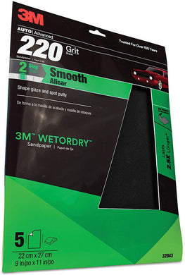 3M 220 Grit Imperial Wetordry Sandpaper Sheet, 9in x 11 in, Pack of 5
