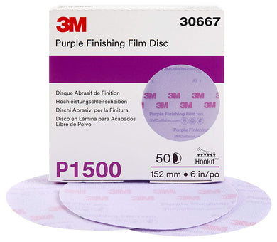 3M Hookit Purple Finishing Film Abrasive Disc 260L, 30667, 6 in, P1500, 50 discs per carton
