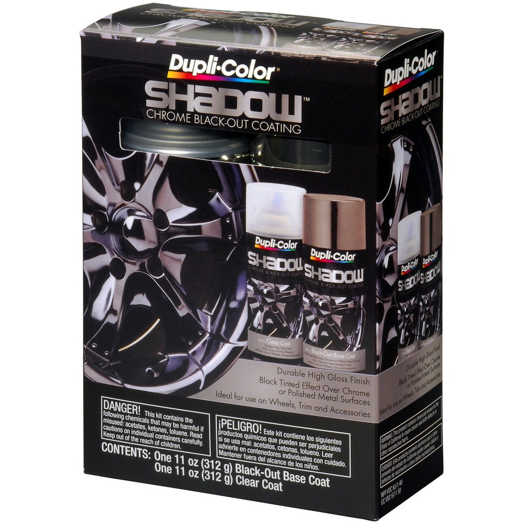 Dupli-Color (ESHD10007 Black/Clear Chrome Black-Out Coating 2-Can Aerosol Kit - 11 oz, (Case of 2)