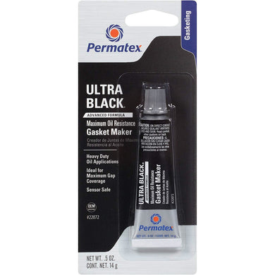 Permatex 22072 Ultra Black Maximum Oil Resistance RTV Silicone Gasket Maker, .5 oz. Tube
