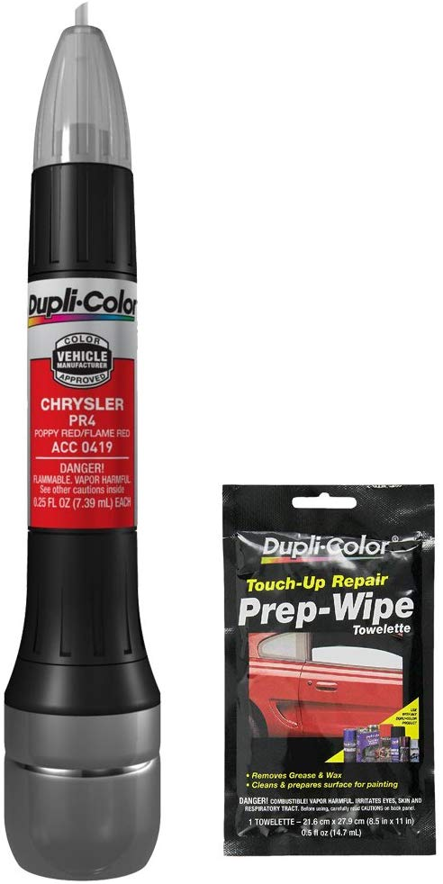 Dupli-Color ACC0419 Flame Red Chrysler Exact-Match Scratch Fix All-in-1 Touch-Up Paint - 0.5 oz with Prep Wipe