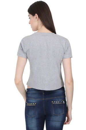 Women's Grey Melange Crop Top
