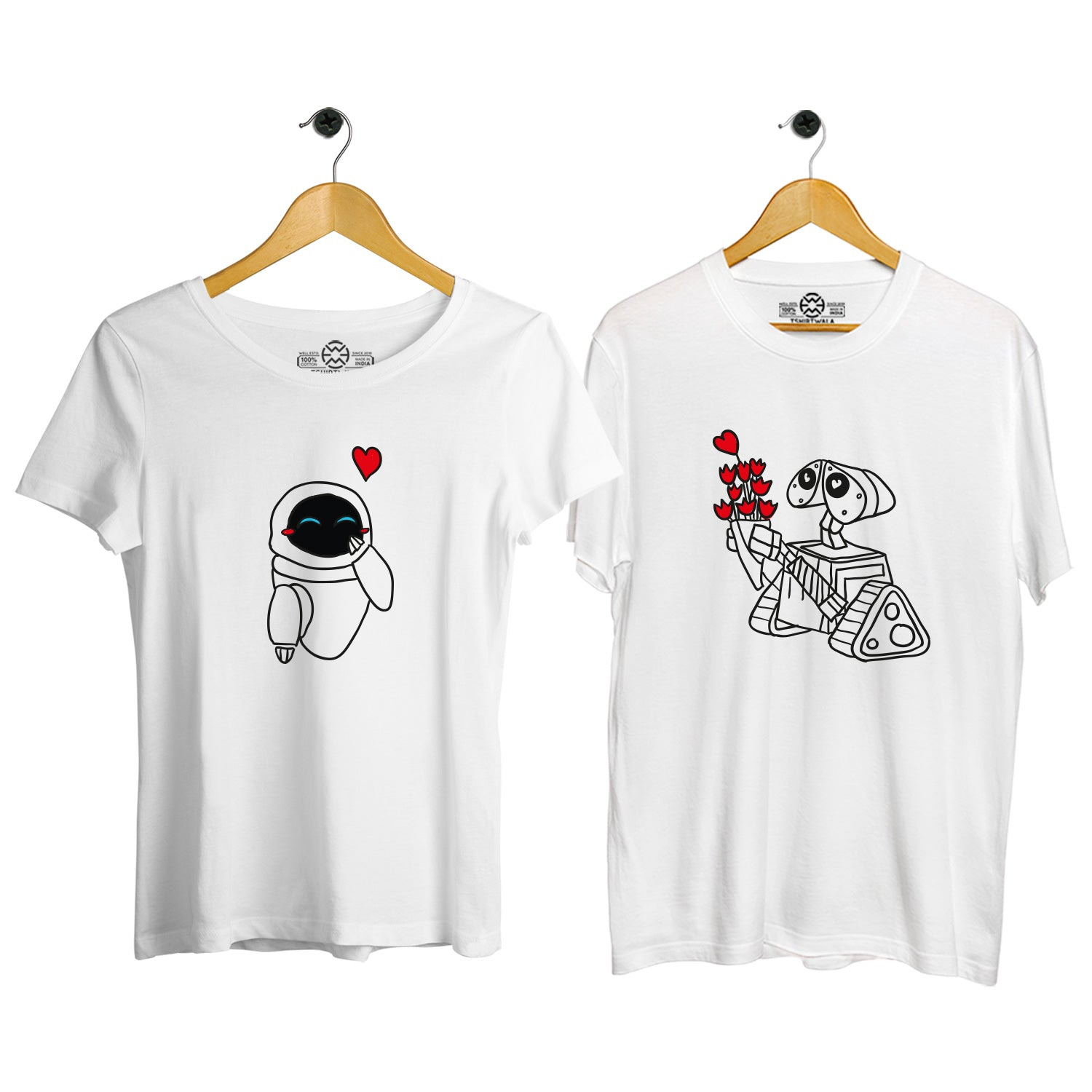 Wall-E and Eve couple tshirt
