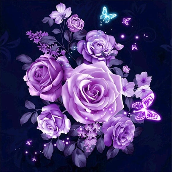 Purple Rose Flowers DIY Diamond Painting