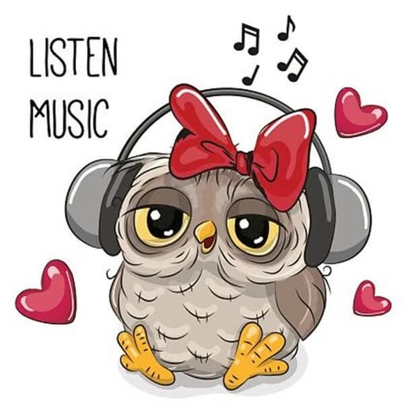 Owl Listening Music DIY Diamond Painting