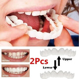 2PCS Upper & Lower Teeth Simulation Brace Whitening Sleeve Second Generation Silicone Simulation Tooth Denture Sleeve With Box