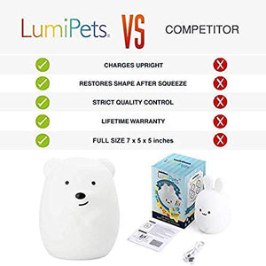 LED Nursery Night Lights for Kids: Baby Gifts, Lumipets Cute Animal Silicone Baby Night Light with Touch Sensor