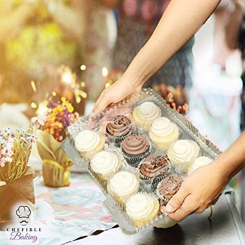 Chefible 12 Compartment Plastic Disposable Cupcake Container, Takeout Container, Cupcake Carrier - Set of 4