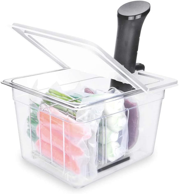EVERIE Sous Vide Container 12 Quart with Collapsible Hinge Lid and Sleeve for Anova Nano or AN500-US00, Also Fits Instant Pot
