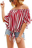 Women's Off Shoulder Flare Sleeve Elastic Pullover Crop Top