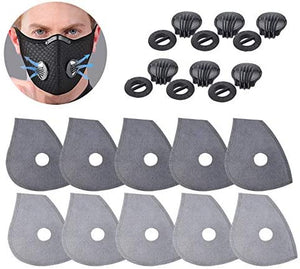 Feeke Five-layer Activated carbon PM2.5 filters and 6 Exhaust Valves Replacement, Active Carbon Filters for Mask (20)