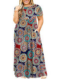 Women's Plus Size Tunic Swing T-Shirt Dress Short Sleeve Maxi Dress with Pockets
