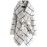 Women's Turn Down Shawl Collar Earth Tone Check Wool Blend Coat