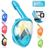 Full Face Snorkel Mask Kids, 180 Panoramic Upgraded Dive Mask with Newest Breathing System