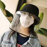 AIDIER Clear Anti Spitting Protective Face Shield, Anti-Saliva Fisherman Cap Windproof Dustproof Sand Proof Mask Anti-UV Fog Splash Sun Protective Hat