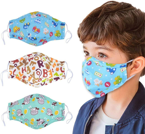 Cartoon Mouth Mask for Kids, 3 Pcs PM2.5 Kids Cotton Anti Dust Mask with 6 Pcs Activated Carbon Filter Insert Fashion Kawaii Cute Mouth Mask Reusable Fack Mask