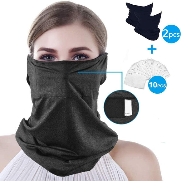 Scarf Bandanas Mask- Neck Gaiter with Safety Carbon Filters,Multi-Purpose Bandana Mask for Men Women Sports&Outdoors(Black)