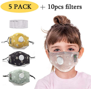 5 Pack Mouth Cover - Reusable Washable Dustproof Mouth Shield for Kids - Protection from Dust, Air Pollution