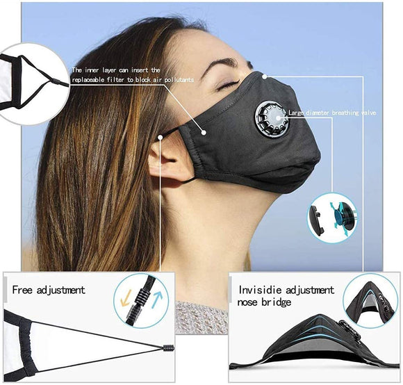3 Pack PM2.5 Dust Mask, Reusable Breathing Valve Respirator Mouth Masks, with 6 Pcs PM2.5 Activated Carbon Filter Protection from Dust, Pollen, Pet Dander