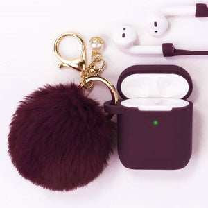 Filoto Airpods Case, Airpod Case Cover for Apple Airpods 2&1 Charging Case, Cute Air Pods Silicone Protective Case Airpods Accessories Keychain/Skin/Pompom/Strap 2020 Spring New Best Gift, Burgundy