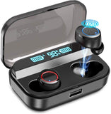 Kissral Wireless Earbuds,Kissral Bluetooth 5.0 Earbuds with 3000mAh Charging Case LED Battery Display 90H Playtime in-Ear Bluetooth Headset IPX7 Waterproof True Wireless Earbuds for Work Sports, Black