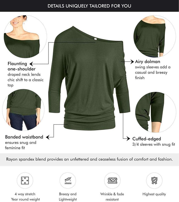 Dolman Tops for Women Sexy Off The Shoulder Tops Banded Waistband Shirts 3/4 Sleeves Regular and Plus Size Tops
