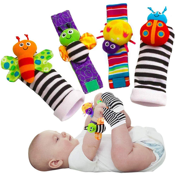 Cute Animal Soft Baby Socks Toys Wrist Rattles and Foot Finders for Fun Butterflies and Lady bugs Set 4 pcs