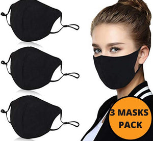 BBrand 3 Pack Black Face Mask Washable-Reusable, Cotton, Anti-Dust, Protection from Dust, Pollen, Pet Dander, Other Airborne Irritants