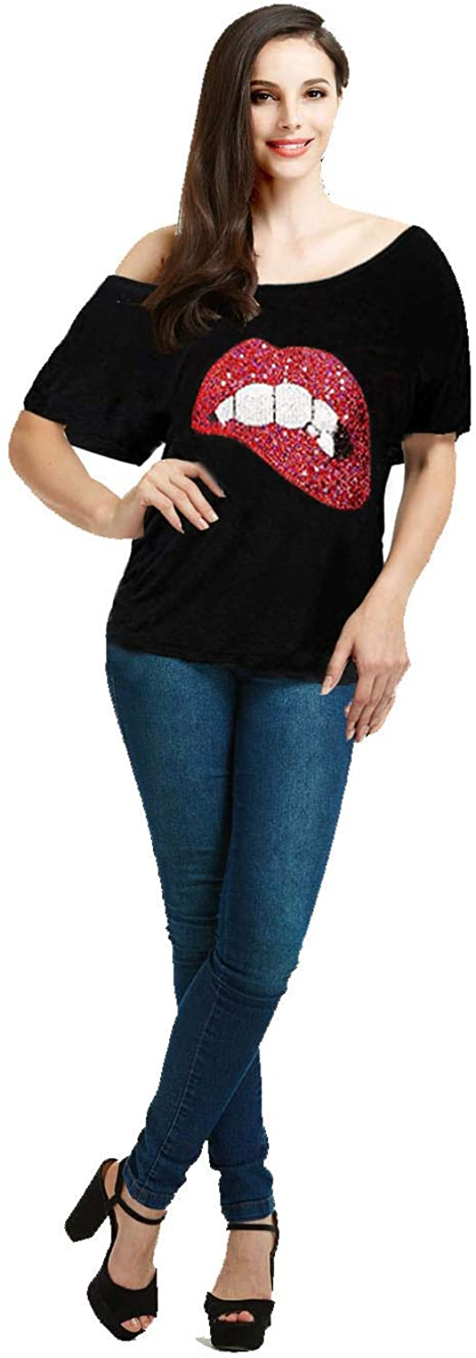 Women Casual Plus Size Sexy Lips Print Off Shoulder T-Shirt Tops