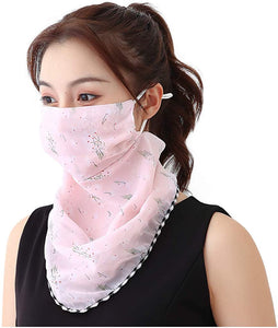 Women's Sun Protection Mask Silk Neck Scarf Masks Seamless Face Mask Bandanas for Dust, Outdoors, Festivals, Sports